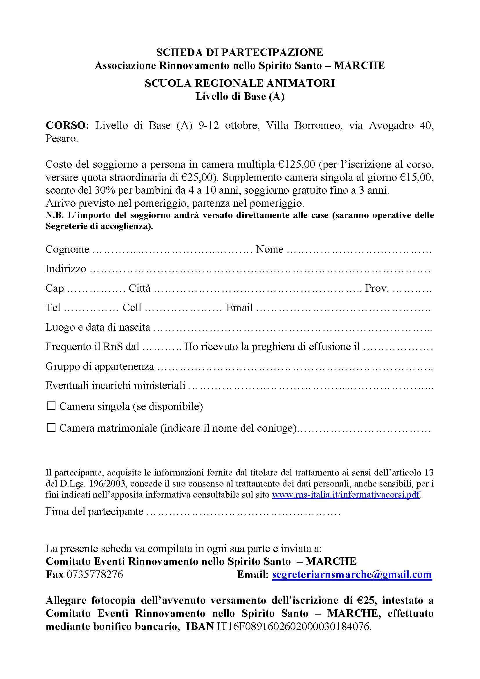 Scheda partecipazione_Livello A_Pesaro