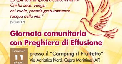 Giornata comunitaria con preghiera di Effusione a Cupra Marittima